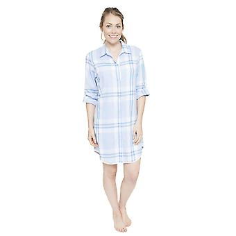 Cyberjammies 4060 vrouw Amelia blauw geruite slaap Shirt Nighty Nachthemd