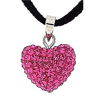 Pink Rhinestone Set Heart Pendant on 18