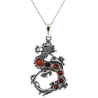 The Olivia Collection Sterling Silver Dragon Amber Pendant on 18