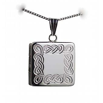 Silver 22mm Celtic engraved flat square Locket with a curb Chain 18 inches