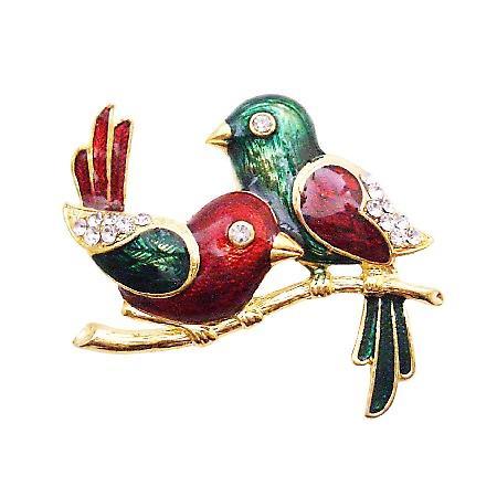 Wedding Anniversay Cake Brooch Valentine Twin Sweet Bird Brooch Gift