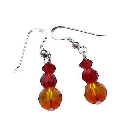 Fire Opal Crystals Siam Red Swarovski CrystalsSterling Silver Earrings
