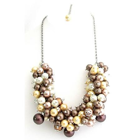 Multi Color Pearls Cluster Necklace Pink Chunky Pearl Cluster Necklace