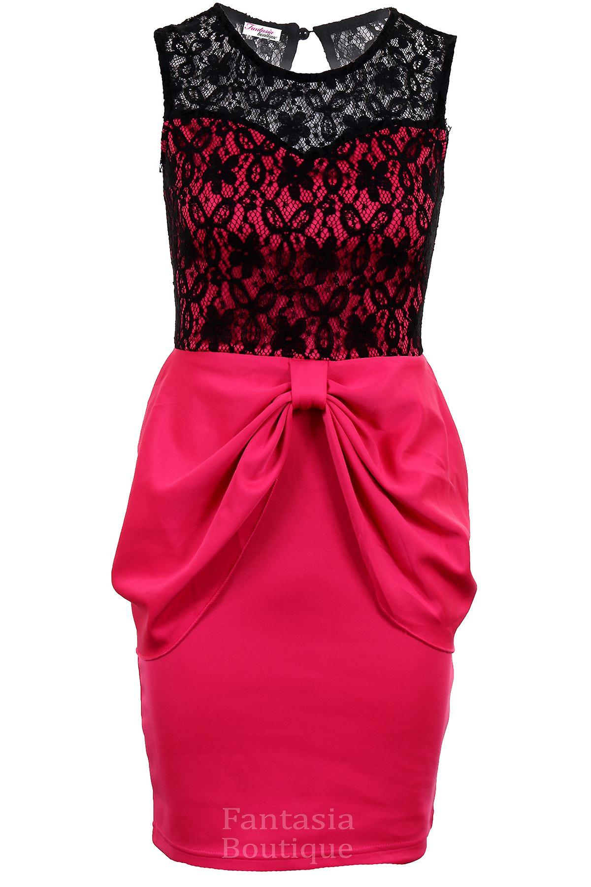 Ladies Sleeveless Bow Front Floral Lace Sweetheart Neck Women's Bodycon Dress