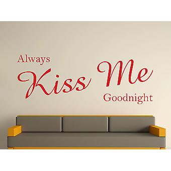 Always Kiss Me Goodnight Wall Art Sticker - Cherry Red