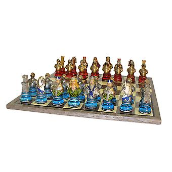 Camelot Busts Acrylic Chess Set Grey Briar Board