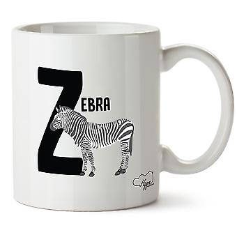 Hippowarehouse Z Is For Zebra Alphabet Animal Printed Mug Cup Ceramic 10oz