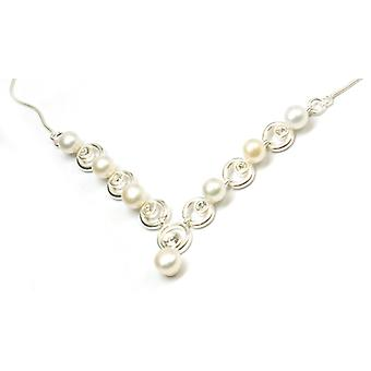 The Olivia Collection Sterling Silver Pearl and Cz Crystal Necklace