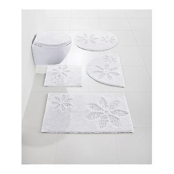 Heine home bath mat bathroom rug with flowers design white 100% cotton 70 x 110 cm