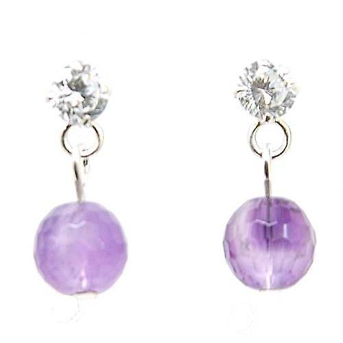 The Olivia Collection S. Silver Amethyst Purple Ball Drop Earrings Cz Plus Pouch