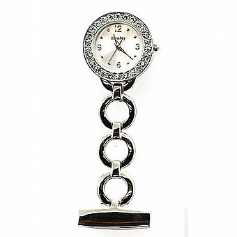 Henley Glamour Crystal Set Silver Round Link Nurses Fob Watch HF02.1