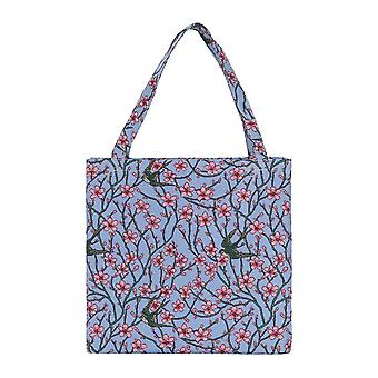 Almond blossom and swallow shopper gusset bag by signare tapestry / guss-blos