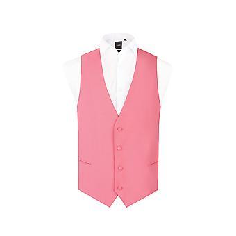 d/Spoke Mens Candy Pink Waistcoat Regular Fit 4 Button Novelty Party