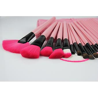 24pcs. Pink Professional makeup børster og skinn tilfelle