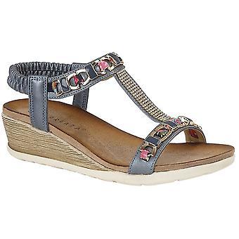 Ladies Womens Sandals Elasticated Jewelled Halter Back Mid Heel Wedge Shoes