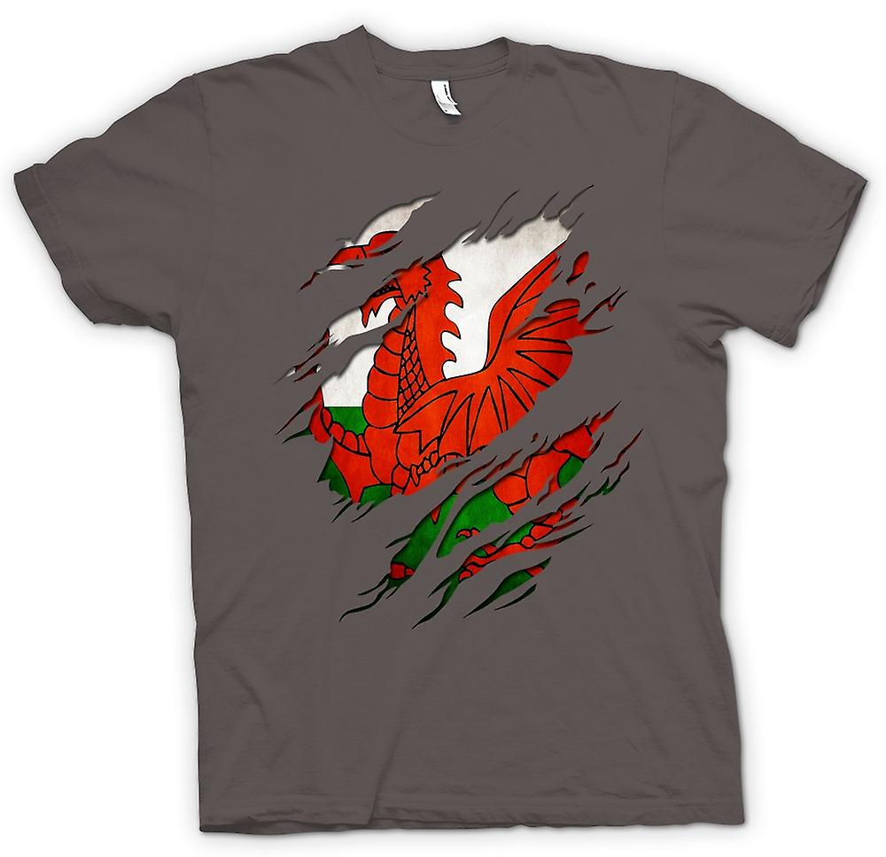 T-shirt - Welsh Flag Grunge strappato effetto