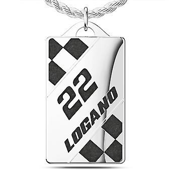 Joey Logano #22 Stripes Dog Tag During In Sterling Silver
