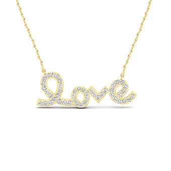 IGI Certified 10k Yellow Gold 0.15 Ct Natural Diamond Love Pendant Necklace