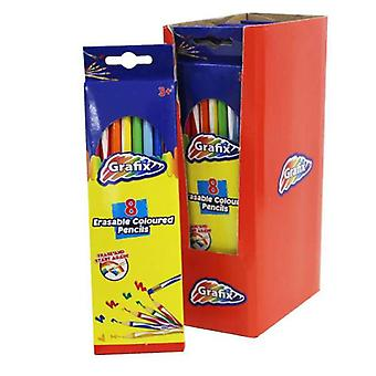 Crayons de couleur Grafix Erasable, 8 Pack