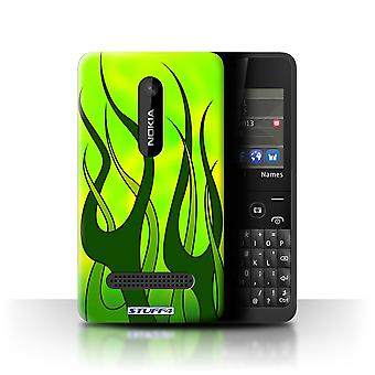 STUFF4 Case/Cover for Nokia Asha 210/Green/Lime/Flame Paint Job