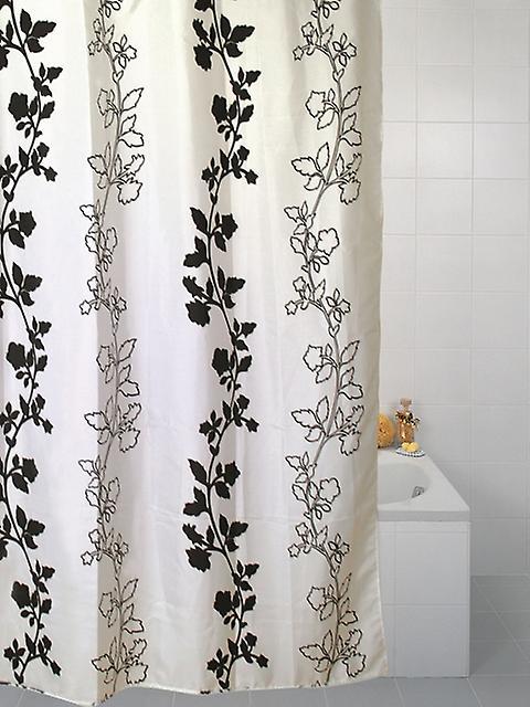 Negro flor de ducha poliester 180 x 180cm de la cortina