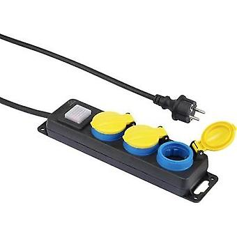 Socket strip (+ switch) 3x Black, Yellow, Blue PG connector Renk