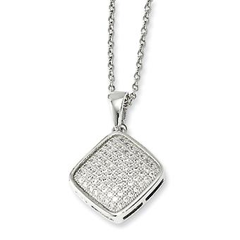 Sterling Silver Pave Rhodium-plated Lobster Claw Closure and Cubic Zirconia Polished Fancy Necklace - 18 Inch