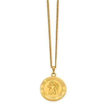 Gold-plated St. Christopher Medal Necklace - 42mm - With 24 Inch Chain