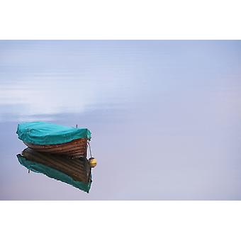 Boat reflections on the still calm water County Mayo Ireland PosterPrint