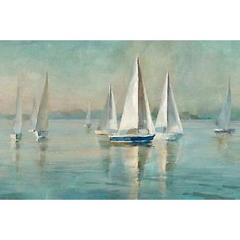 Sailboats at Sunrise Poster Print by Danhui Nai