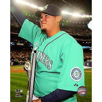 Felix Hernandez receives his American League Cy Young Award Trophy Photo Print