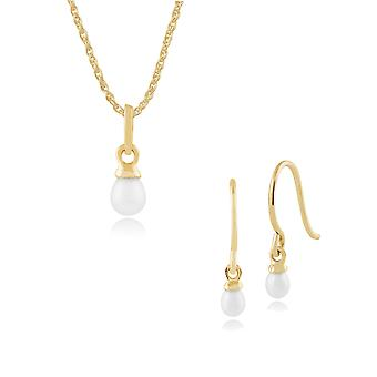 Gemondo 9ct Yellow Gold Freshwater Pearl Drop Earring & 45cm Necklace Set