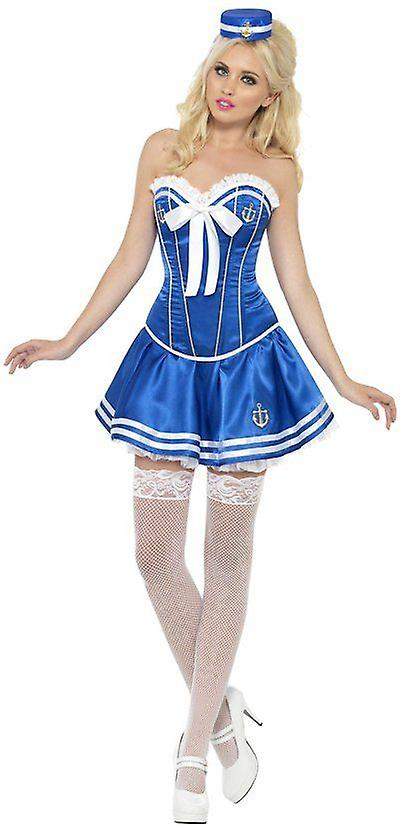 Smiffys Fever Boutique Fancy Dress Womens Costume Sailor Blue White