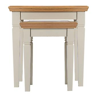 Cunningham Nest Of Nesting Tables Truffle Cream Painted Finish Fully Assembled
