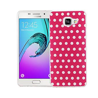 Mobile case for Samsung Galaxy A5 2016 cover case protective bag motif slim TPU + bulletproof 9 H polka dot pink
