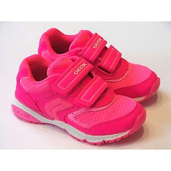 Geox Geox J Bernie Girls Bright Pink Trainers With Strap Fastening
