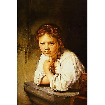 Rembrandt Harmenszoon van Rijn - A Girl at a Window Poster Print Giclee