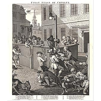 William Hogarth - The First Stage of Cruelty Poster Print Giclee