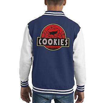 Cookie Monster Jurassic Park Sesame Street Kid's Varsity Jacket