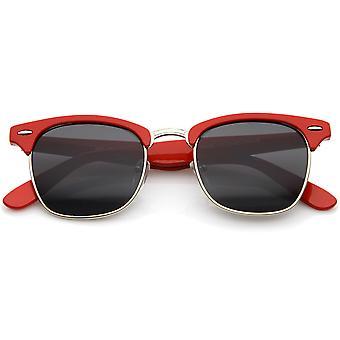 Premium halv ramme Metal nitter Horn kantede solbriller 50mm