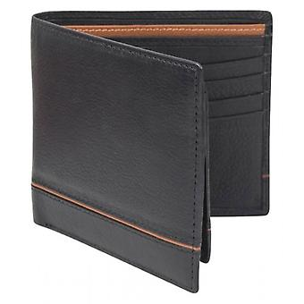 Dents Smooth Two Tone Removable Pass holder and RFID Blocking Wallet - Black/Saddle Brown