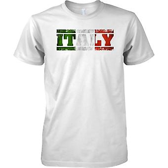 Italy Grunge Country Name Flag Effect - Tricolore - Kids T Shirt