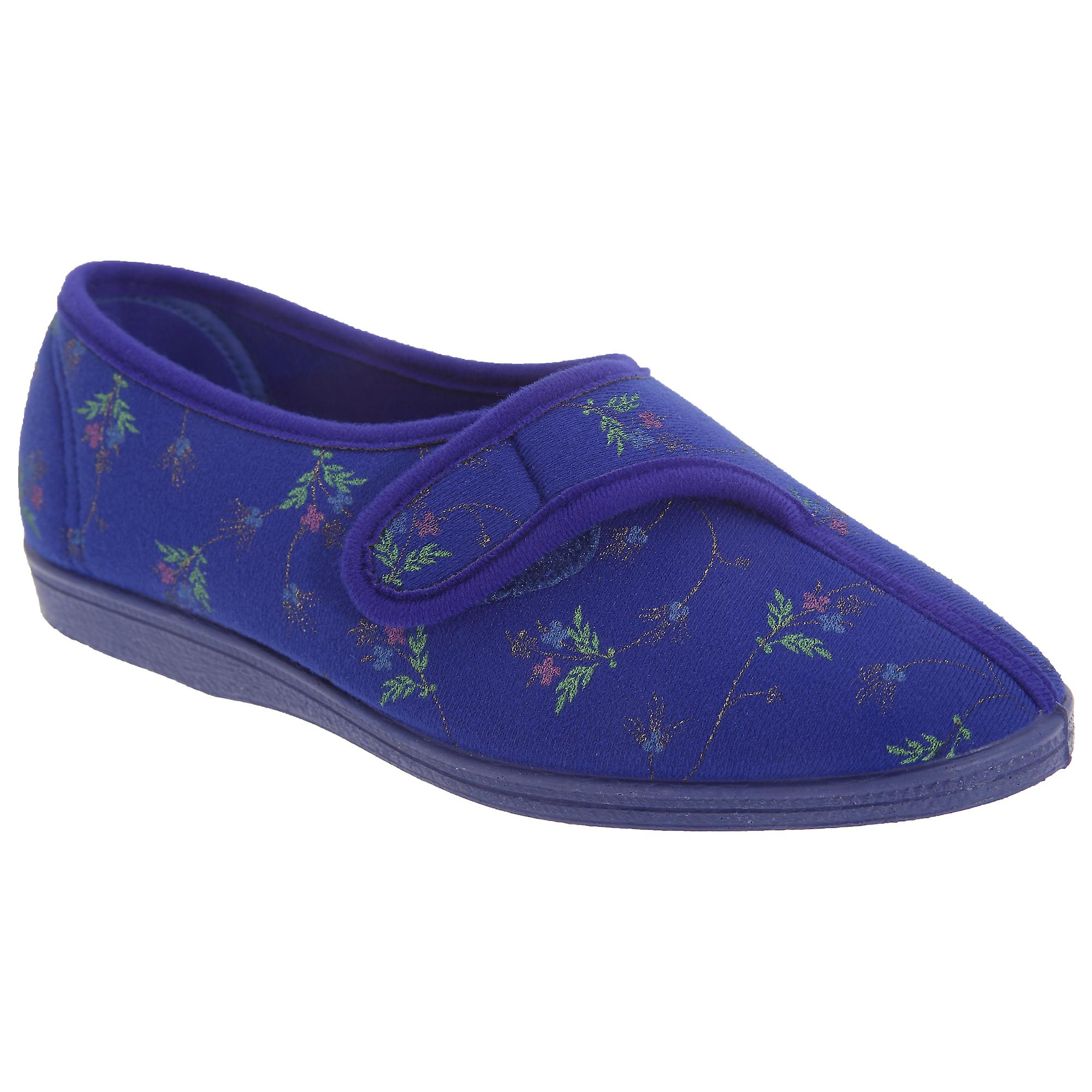 Ladies Slippers Touch Floral Dora Womens Sleepers Fastening w6q5SPnR