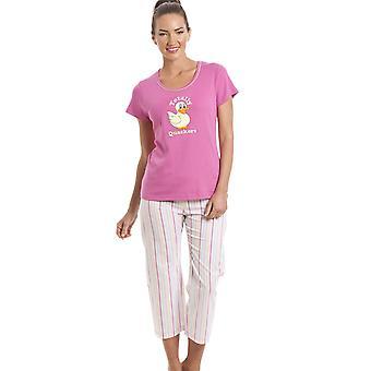 Camille 100% Cotton Duck Motif Pink Cropped Pyjama Set