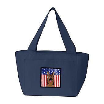Carolines Schätze BB2141NA-8808 amerikanische Flagge und Schäferhund-Lunch-Bag