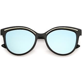 Moderno gatto occhio occhiali da sole metallo Brow dettaglio tondo specchio colorato lente piana 53mm