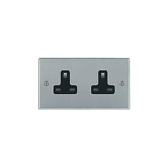 Hamilton Litestat Hartland Satin Chrome 2G 13A Unswitched Socket