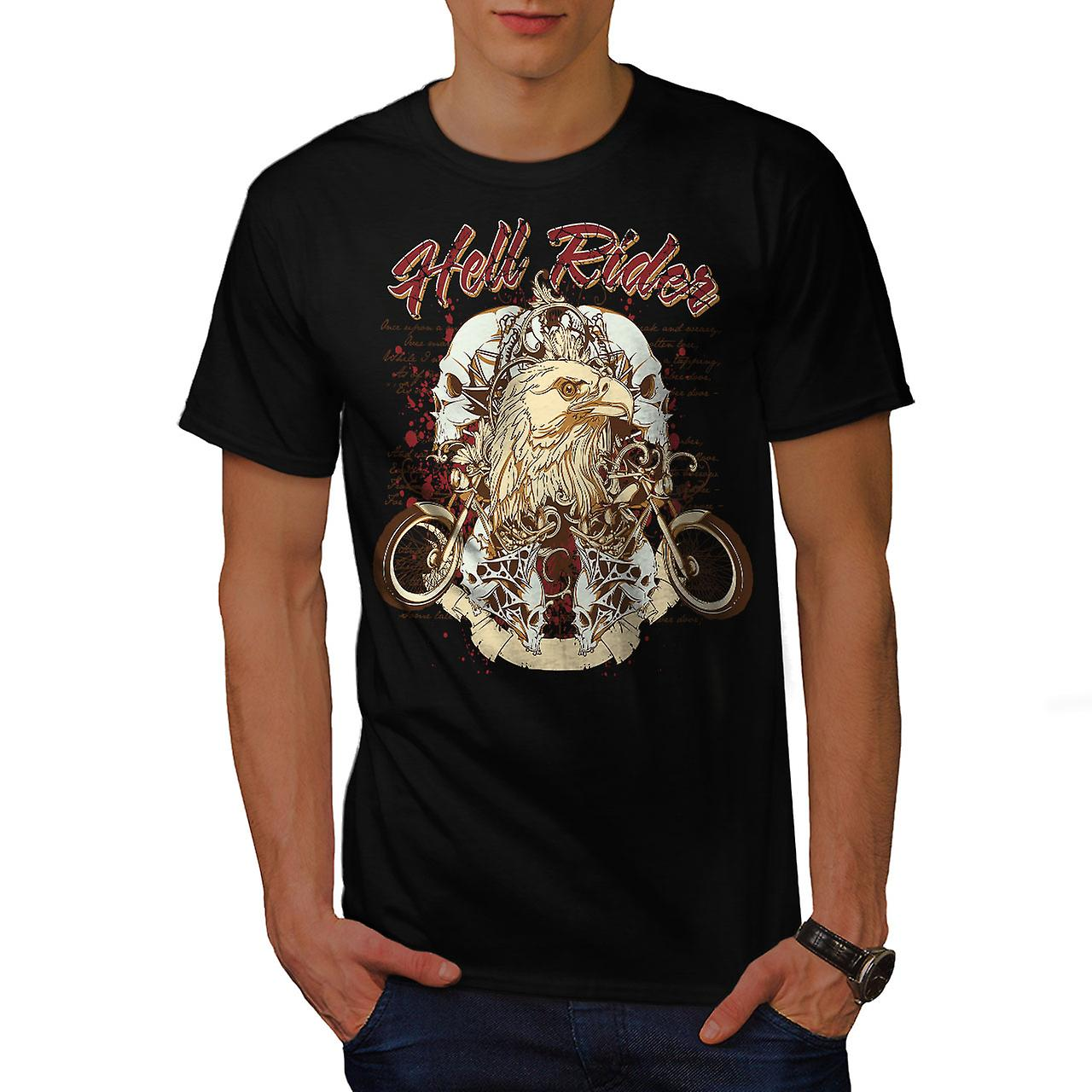 Hell Rider Eagle Biker Men Black T-shirt | Wellcoda