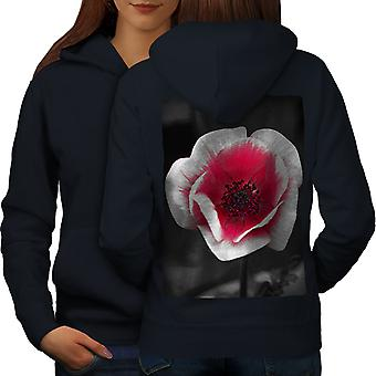Foto naturaleza mujeres NavyHoodie respaldo flor roja | Wellcoda
