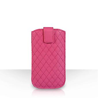 Diamond Pattern Leather Auto Return Pull Tab Pouch (S) - Hot Pink